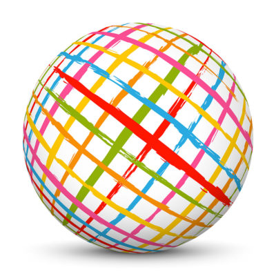 White Sphere with Multicolored, Crossed Stripes