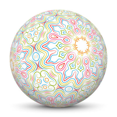 Sphere with Abstract, Colorful Pattern