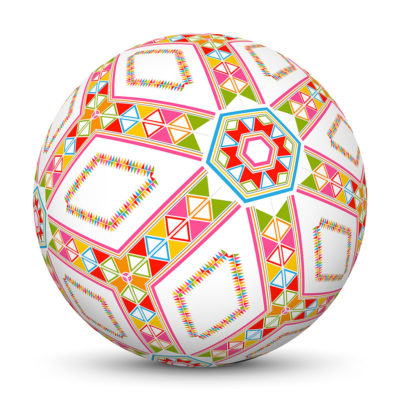 White Sphere with Colorful Triangles