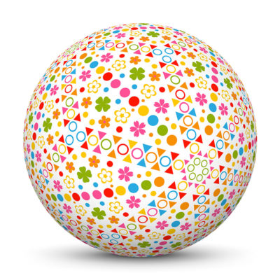 Sphere with Colorful Dots and Flower Symbols