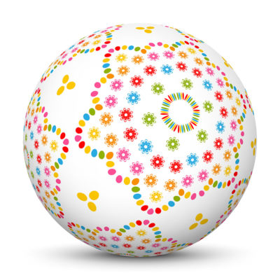 White Sphere with Abstract Colorful Flower Symbol