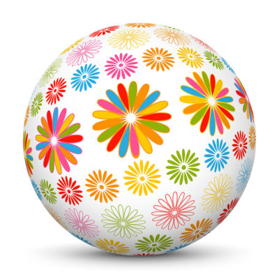 Sphere with Abstract Colorful Flower Symbols