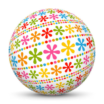 White Sphere with Colorful Dots and Abstract Flower Symbols
