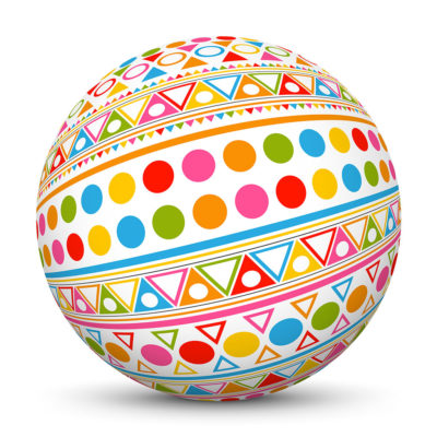 White Sphere with Colorful Triangles and Dots