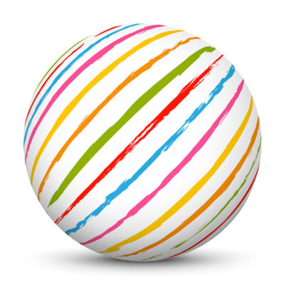 White Sphere with Colorful Stripes