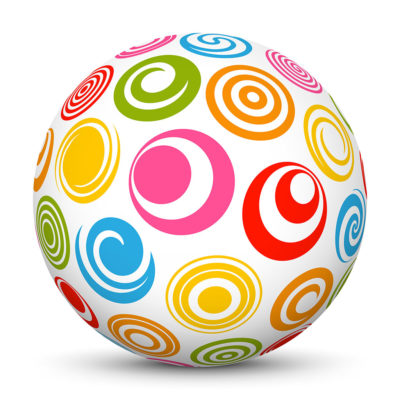 White Sphere with Colorful Abstract Pattern