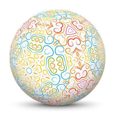 White Sphere with Abstract Pattern