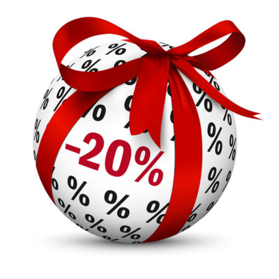 Sphere with Beautiful Red Gift Bow / -20% Discount