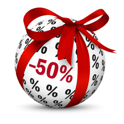 Sphere with Beautiful Red Gift Bow / -50% Discount