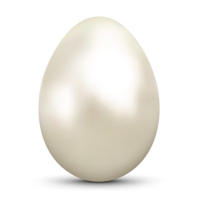 Beautiful Egg/Orb with Shiny Cream Colored Oyster Pearl Surface