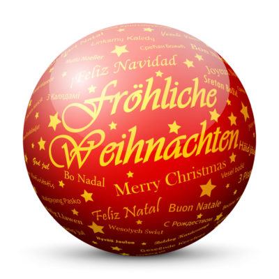 """Red Glossy Christmas Ball/Sphere with Golden """"Fröhliche Weihnachten"""" Lettering in German Language"""