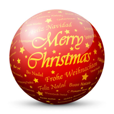"""Red Glossy Christmas Ball/Sphere with Golden """"Merry Christmas"""" Lettering"""