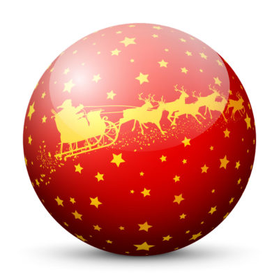 Red Glossy Christmas Ball/Sphere with Starlets and Golden Santa Clause and Reindeer Sleigh/Sled Texture