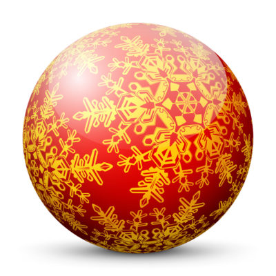 Red Glossy Christmas Ball/Sphere with Golden Snowflakes