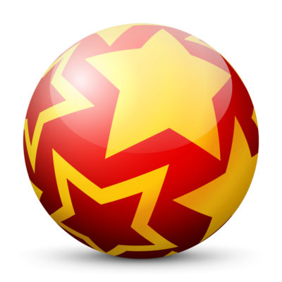 Red Glossy Christmas Ball/Sphere with Golden Starlets