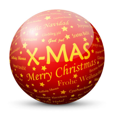 Red Glossy Christmas Ball/Sphere with Golden X-MAS Lettering