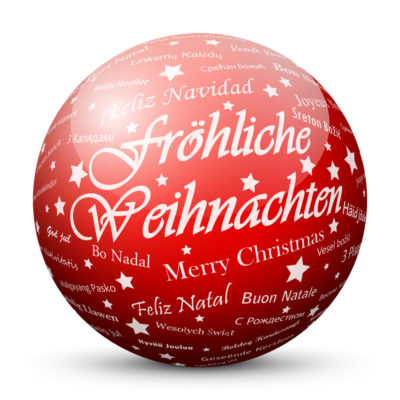 """Red Glossy Christmas Ball/Sphere with White """"Fröhliche Weihnachten"""" Lettering in German Language"""