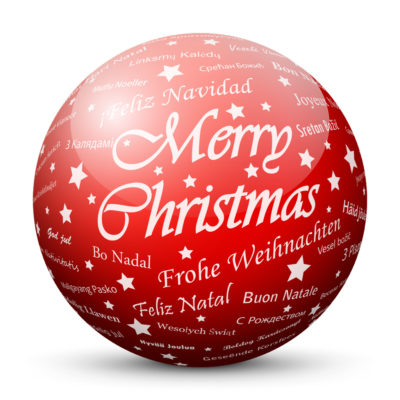 """Red Glossy Christmas Ball/Sphere with White """"Merry Christmas"""" Lettering"""