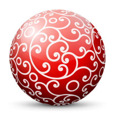 Red Glossy Christmas Ball/Sphere with White Ornaments as Graceful Ornamental Decoration