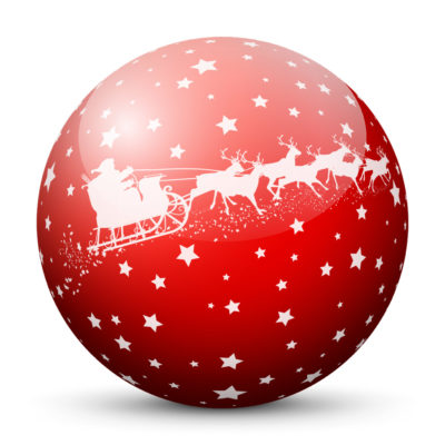 Red Glossy Christmas Ball/Sphere with Starlets and White Santa Clause and Reindeer Sleigh/Sled Texture