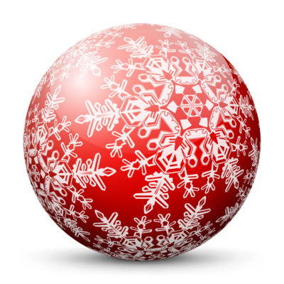 Red Glossy Christmas Ball/Sphere with White Snowflakes