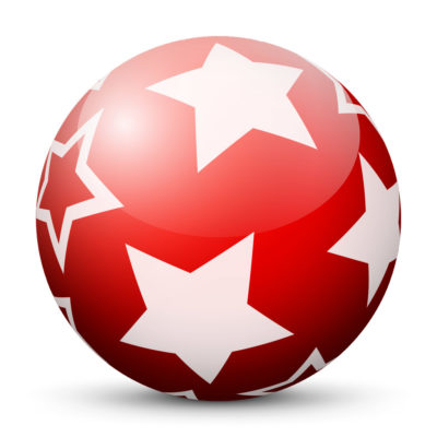 Red Glossy Christmas Ball/Sphere with White Starlets