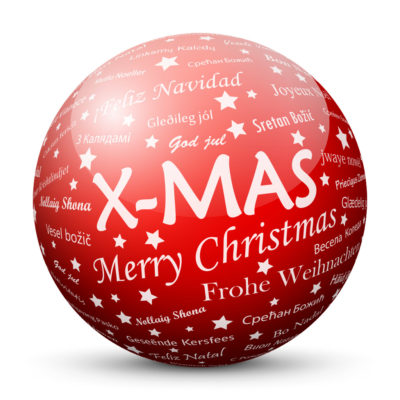 Red Glossy Christmas Ball/Sphere with White X-MAS Lettering