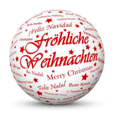 """White Christmas Ball/Sphere with Red """"Fröhliche Weihnachten"""" Lettering in German Language"""