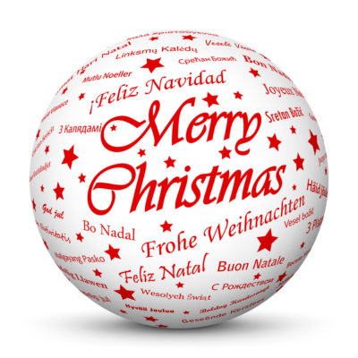 """White Christmas Ball/Sphere with Red """"Merry Christmas"""" Lettering"""