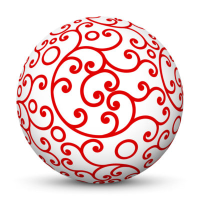 White Christmas Ball/Sphere with Red Ornaments as Graceful Ornamental Decoration