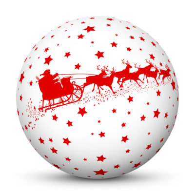 White Christmas Ball/Sphere with Starlets and Red Santa Clause and Reindeer Sleigh/Sled Texture