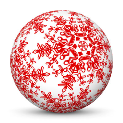 White Christmas Ball/Sphere with Red Snowflakes
