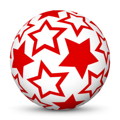 White Christmas Ball/Sphere with Red Starlets