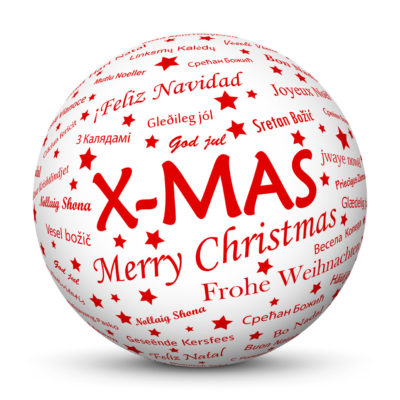 White Christmas Ball/Sphere with Red X-MAS Lettering