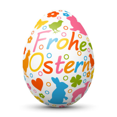 """White Easter Egg/Orb with colorful Springtime Symbols and """"Frohe Ostern"""" Lettering in German Language"""