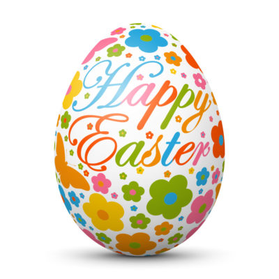 White Easter Egg/Orb with Colorful Springtime Symbols and Happy Easter Lettering