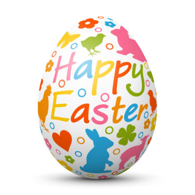 """White Easter Egg/Orb with Colorful Springtime Symbols and """"Happy Easter"""" Lettering"""