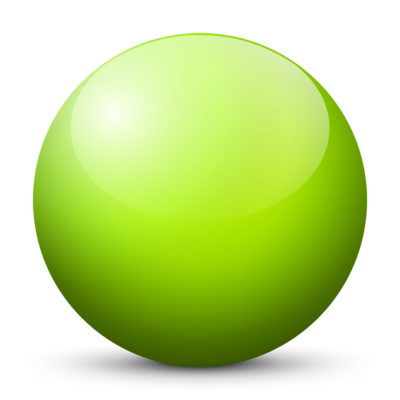 Lime Citrus Green Colored Sphere with Shiny/Glossy Surface