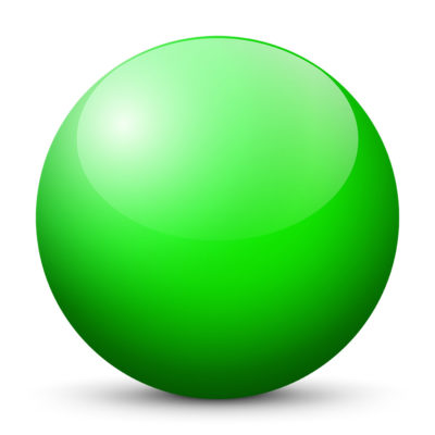 Green Colored Sphere with Shiny/Glossy Surface