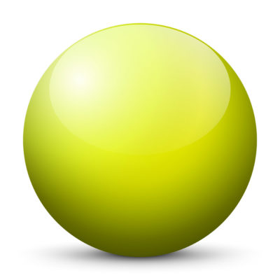 Yellow Green Colored Sphere with Shiny/Glossy Surface