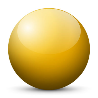 Yellow Orange Colored Sphere with Shiny/Glossy Surface