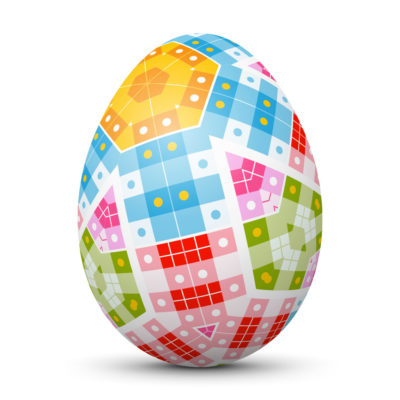 White Easter Egg/Orb with Abstract Colorful Squares and Dots on Surface