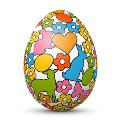 White Easter Egg/Orb with Colorful Bunny, Lamb, Butterfly and Flower Symbol
