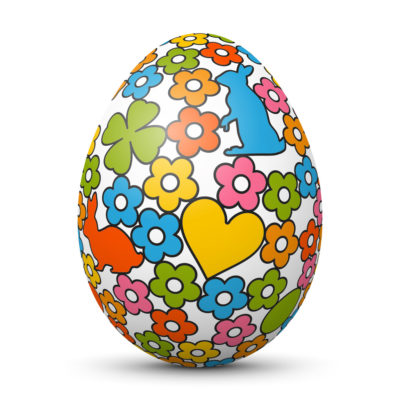 White Easter Egg/Orb with Colorful Heart, Bunny, Flowers and Shamrock Symbol