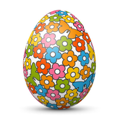 White Easter Egg/Orb with Colorful Flowers and Butterflies