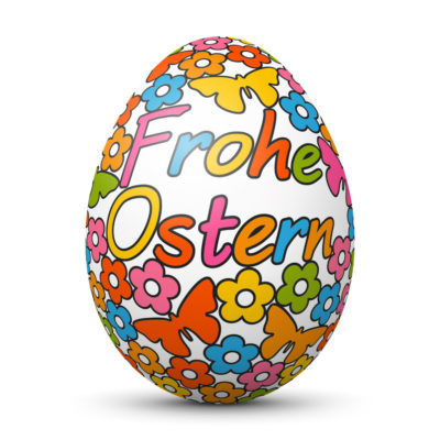 """Easter Egg/Orb with Springtime Symbols and """"Frohe Ostern"""" Greeting (German Language)"""