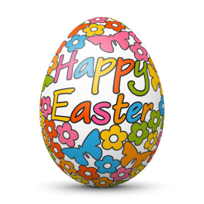 """Easter Egg/Orb with Springtime Symbols and """"Happy Easter"""" Lettering on Surface"""