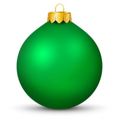 Metallic Shiny Green Christmas Ball (Orb) with Golden Hanging Loop