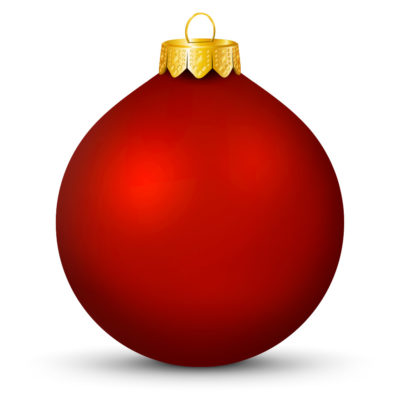 Metallic Shiny Red Christmas Ball (Orb) with Golden Hanging Loop