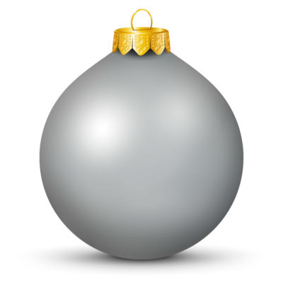 Metallic Shiny Silver (Gray) Christmas Ball (Orb) with Golden Hanging Loop